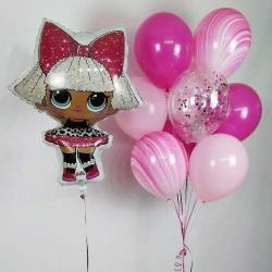 Фонтан шаров и кукла ЛОЛ
