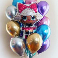 Фонтан шаров хром и кукла ЛОЛ