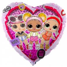 Шар (18''/46 см) сердце, Кукла ЛОЛ (LOL), стильные подружки