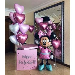 Большая розовая коробка-сюрприз с шарами Минни Маус