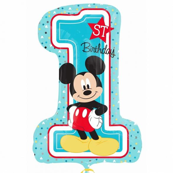 Шар цифра 1 Микки Маус Первый День Рождения