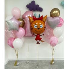 "Сет из шаров три кота ""Карамелька на годовасие"""