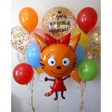 """Сет из шаров три кота """"С днем рождения от Карамельки"""""""
