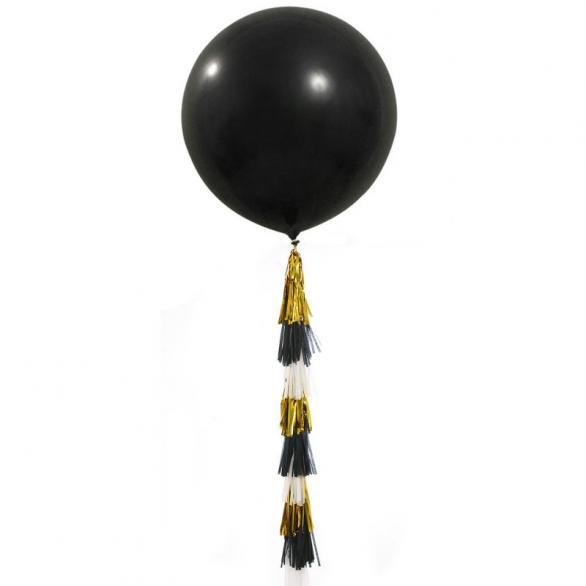 """Воздушный шар 36""""/91см черный с тассел-гирляндой"""