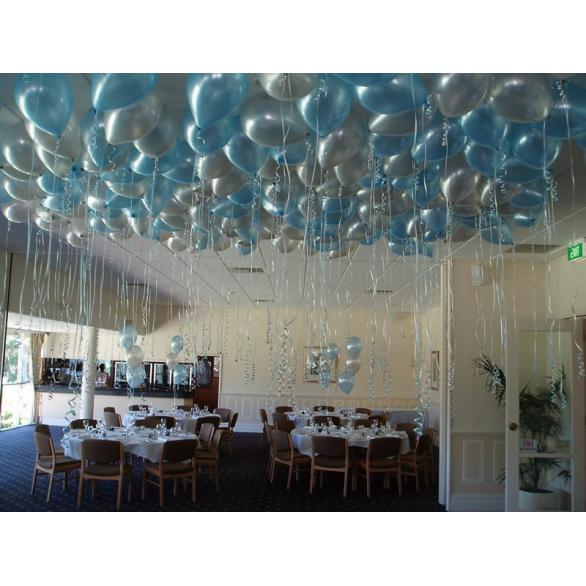 Шары под потолок голубой металлик, серебро
