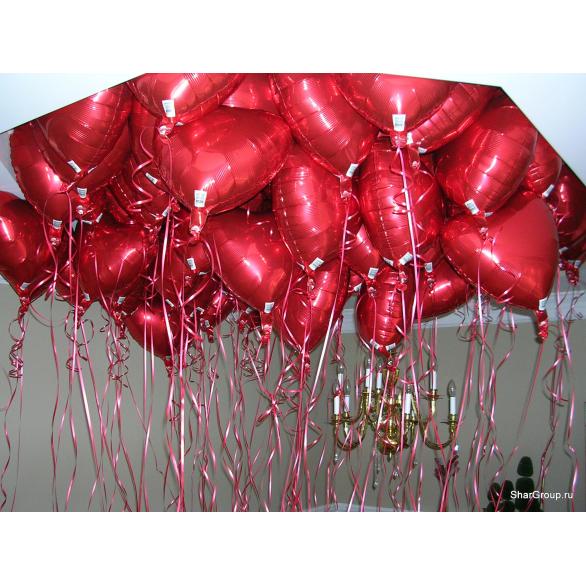 Шары под потолок из фольги красные сердца