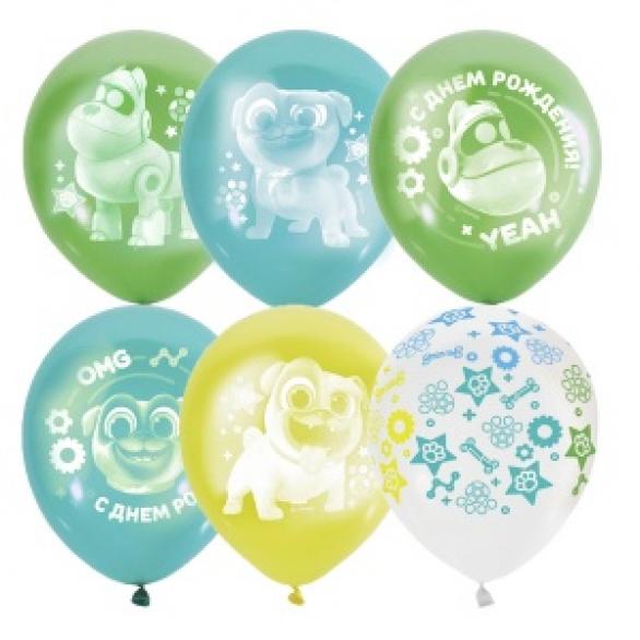 """Облако из шаров """"Дисней, мопсы для мальчиков, с днем рождения!"""""""
