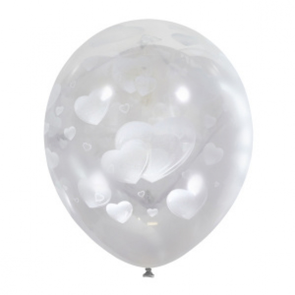"Облако из шаров ""Белое сердечко"""