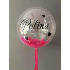 Прозрачный шар Bubble с перьями и индивидуальной надписью 46 см