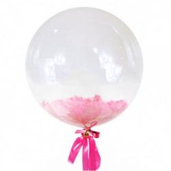 Прозрачный шар Bubble с розовыми перьями, 46 см