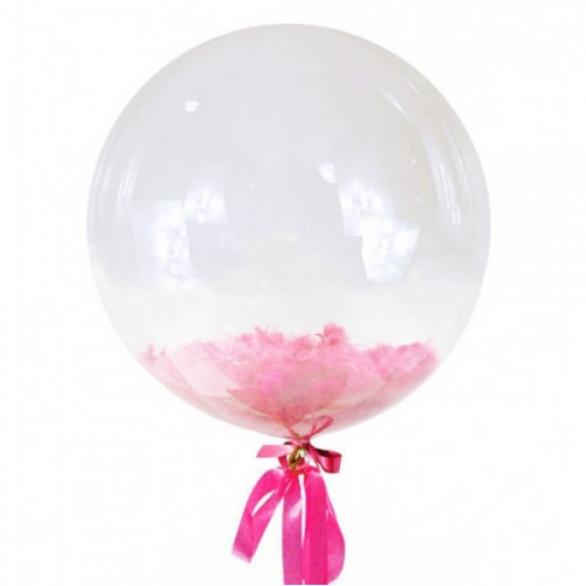 Прозрачный шар Bubble с розовыми перьями, 61 см