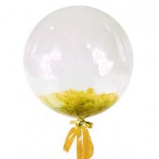 Прозрачный шар Bubble с желтыми перьями, 61 см