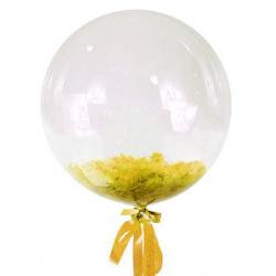 Прозрачный шар Bubble с желтыми перьями, 46 см