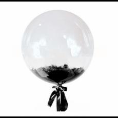 Прозрачный шар Bubble с черными перьями, 46 см
