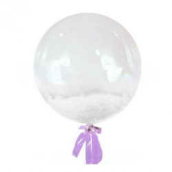 Прозрачный шар Bubble с белыми перьями, 46 см