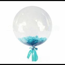 Прозрачный шар Bubble с бирюзовыми перьями, 46 см