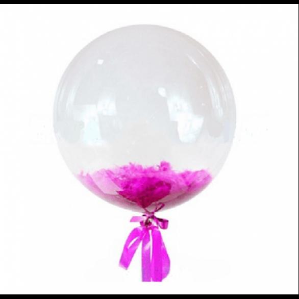 Прозрачный шар Bubble с малиновыми перьями, 46 см