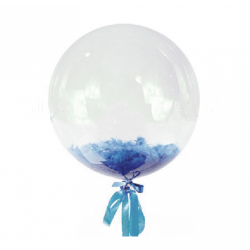Прозрачный шар Bubble с синими перьями, 46 см