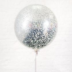 Большой шар с серебряным конфетти 90 см