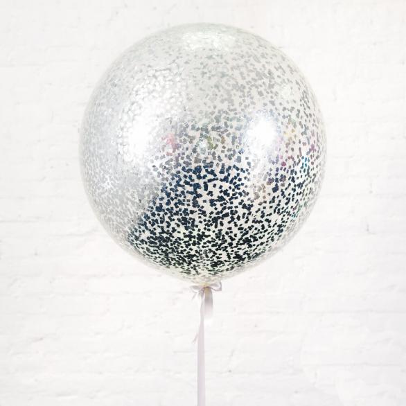 Большой шар с серебряным конфетти