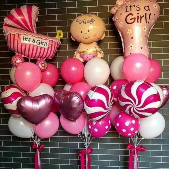 Набор шаров на выписку девочке №73