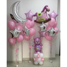 Воздушные шары Выписка оформление для девочки